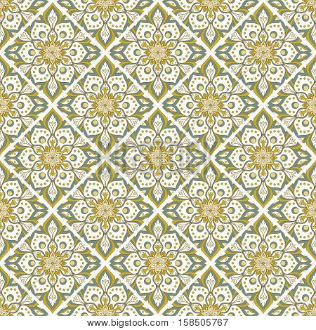 Seamless hand drawn mandala pattern. Vintage elements in oriental style. Texture for wallpapers backgrounds and page fill. Islam arabic indian turkishottoman asian motifs. Vector illustration.