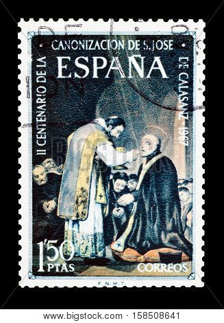 SPAIN - CIRCA 1967 : Cancelled postage stamp printed by Spain, that shows Joseph Calasanz.