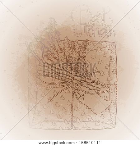 Gift package made of craft paper with coniferous decorations. pine tree branches and cones. Vector design elements isolated on the vintage background in ocher colors.