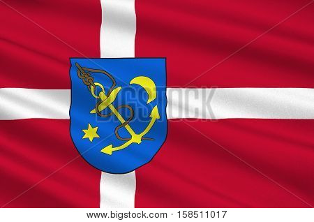Flag of Struer in Central Jutland Region in Denmark. 3d illustration