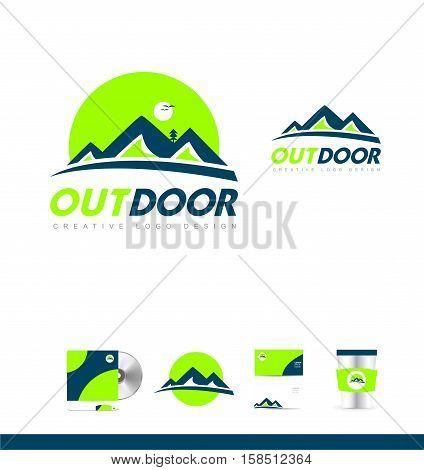 Blue green mountain vector logo icon sign design template corporate identity