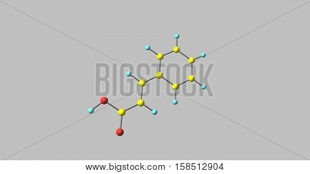 Cinnamic acid is an organic compound with the formula C6H5CHCHCO2H. It is a white crystalline compound that is slightly soluble in water and freely soluble in many organic solvents. 3d illustration