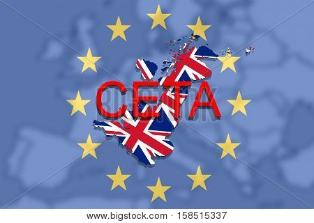 Ceta - Comprehensive Economic And Trade Agreement On Euro Union Background And United Kingdom Map