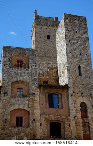 San Gimignano Italy - September 6 2016: Buildings in San Gimignano city in Tuscany Italy.
