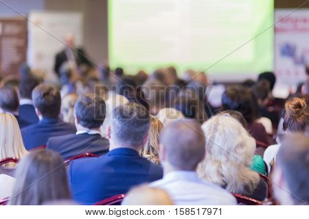 Group of People Listening on The Conference. Horizontal Image