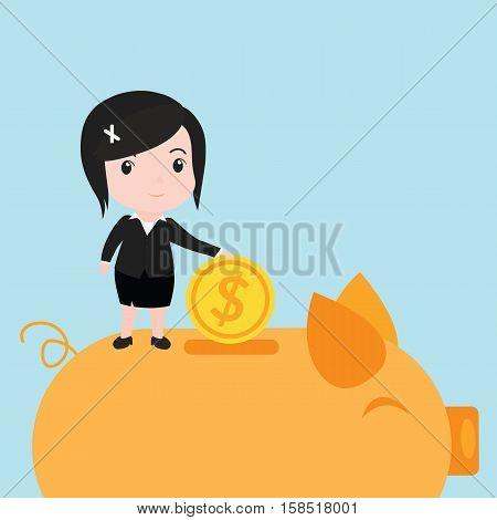 Business Women Putting Coin Into Piggy Bank, Cartoon
