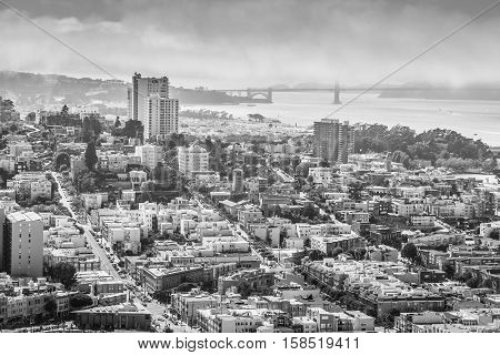 Aerial view of San Francisco skyline. Panorama black and white of the Golden Gate Bridge, Fisherman's Wharf and North Beach from top of Coit Tower on sunny day, California, United States.