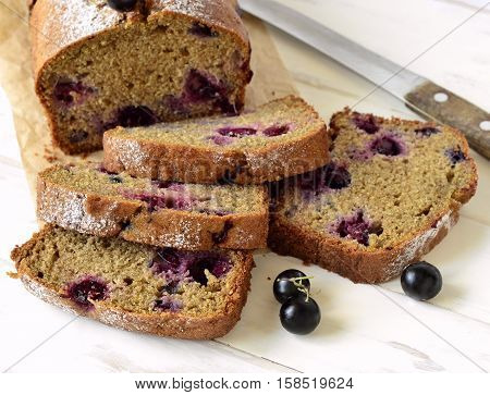 Homemade wholewheat cake with blackcurrant, square image
