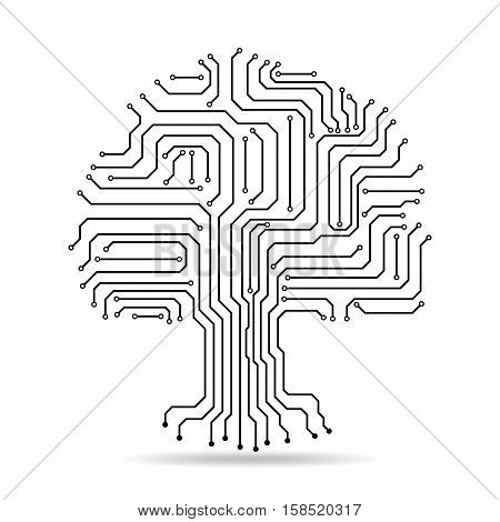Circuit board tree icon. Abstract line tree silhouette isolated. Vector illustration. Crown of tree made of electronic paths.