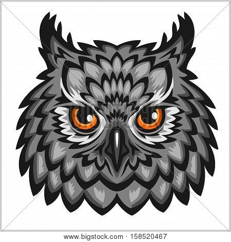 Owl hwad mascot - isolated on white background.