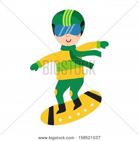 Christmas kid playing winter game. Snowboarding little people having fun time. Cute child playing sled. Cartoon New Year winter holiday vector character on frozen snow.