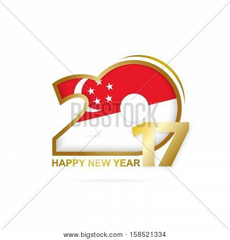 Year 2017 With Singapore Flag Pattern. Happy New Year Design On White Background.