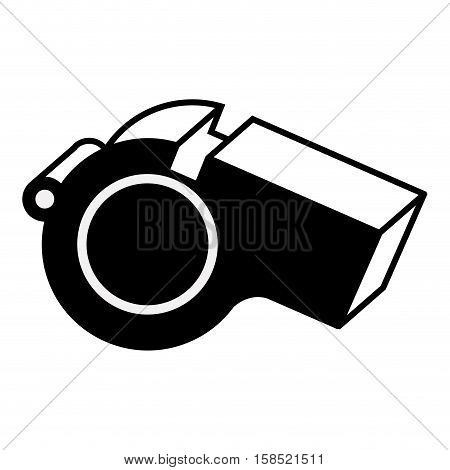silhouette monochrome with closeup whistle vector illustration