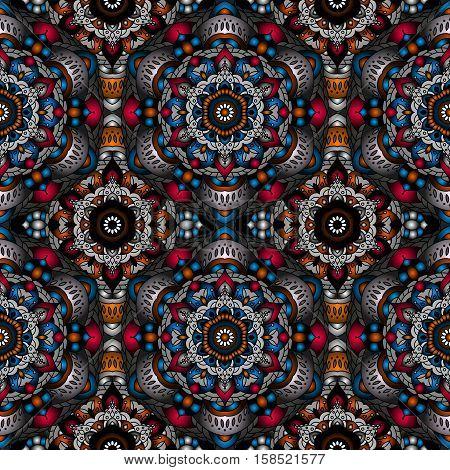 Vector magic seamless pattern. national decorative element for fabric ot design. Islam, Arabic, Indian, ottoman motifs. Oriental colorful mandala.