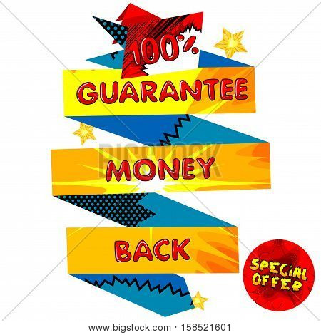 Vector illustrated Hundred Percentage Guarantee money back banner