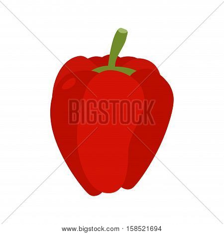 Bulgarian Pepper Isolated. Red Vegetables On White Background. Food Vegetarian