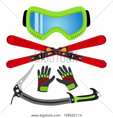 Ice sports set flat style - goggles, ski, gloves, ice axe. Made for ski rental, extreme sports and winter games.
