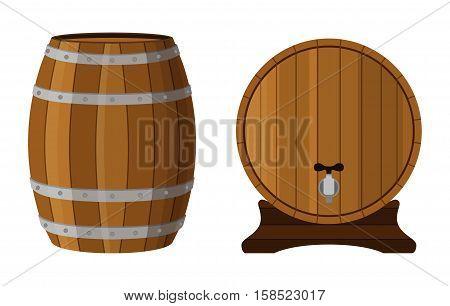 Wooden cask with rum. Cognac, brandy, scotch in cartoon barrel. Flat vector style.