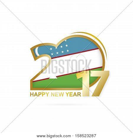 Year 2017 With Uzbekistan Flag Pattern. Happy New Year Design On White Background.