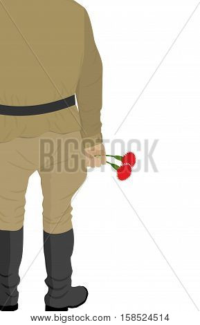 Russian Soldiers Back. Vintage Clothing Warrior From Russia. Carnations In Hand. Two Flowers Are Sym