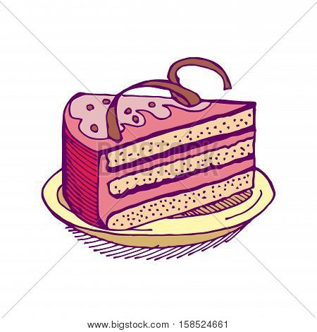 Piece Of Cake On Plate. Pie Isolated. Dessert On White Background. Sweets Cakes. Cream And Biscuit.