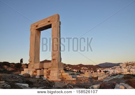 Portara gate in Naxos island in Greece