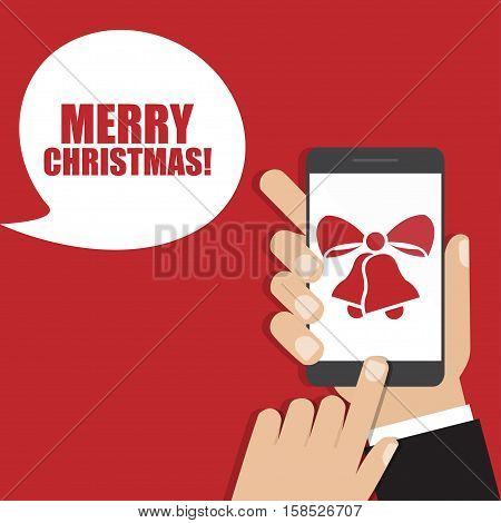 Hand holding smartphone with Christmas bells icon. Vector illustration