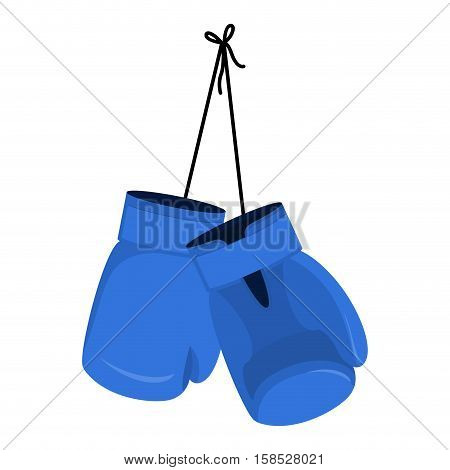 Hanging Blue Boxing Gloves. Accessory For Boxer. Sports Equipment