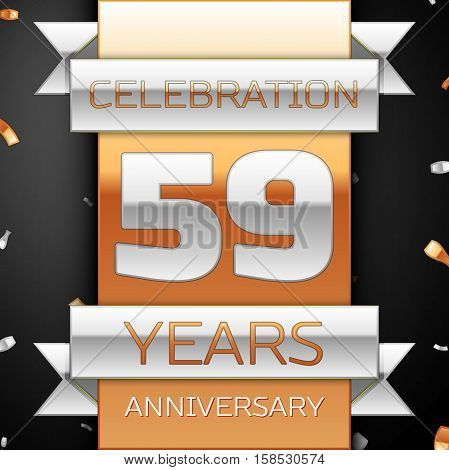 Fifty nine years anniversary celebration golden and silver background. Anniversary ribbon