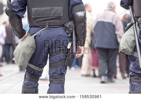 Police officer. State of emergency. Policeman on duty. Counter-terrorism.