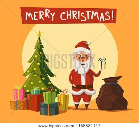Funny Santa Claus holding gift in hand. Cartoon vector illustration. Greeting card. Bag with gifts. Vintage style. Christmas tree with gifts. Cartoon vector illustration. Star, decoration balls and light bulb chain. Isolated background. Happy New Year, Me