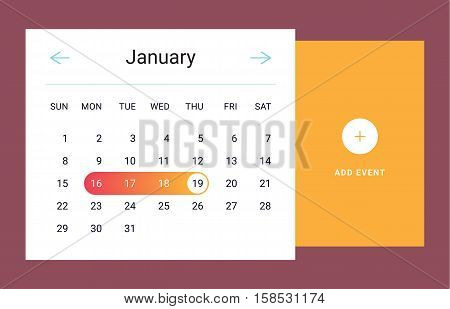 Calendar UI UX element. Calendar widget event. Vector illustration. Calendar daily template in flat style. Orange color.