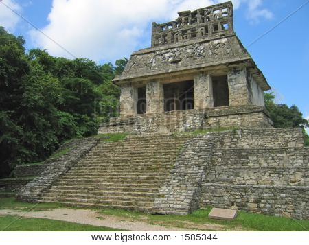 Temple Maya In The Jungle, Palenque, Mexico