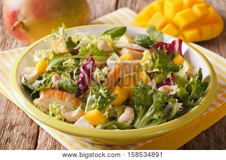 Vitamin Salad With Chicken Fillet, Mango, Arugula, Lettuce, Spinach And Chicory Close-up. Horizontal