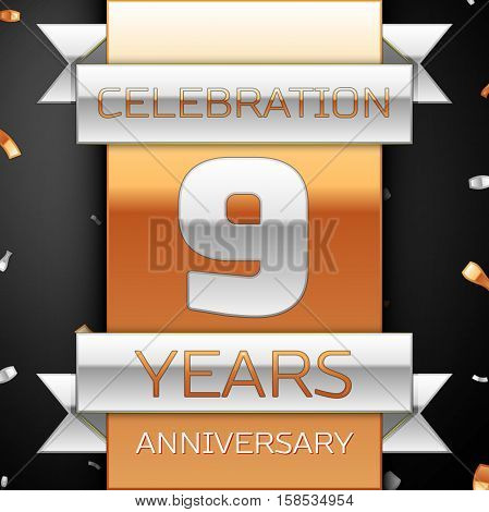 Nine years anniversary celebration golden and silver background. Anniversary ribbon