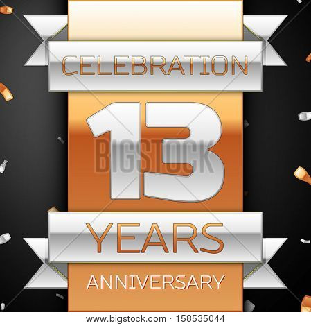 Thirteen years anniversary celebration golden and silver background. Anniversary ribbon