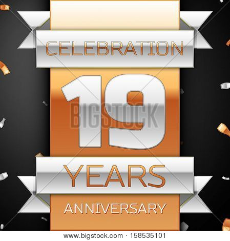 Nineteen years anniversary celebration golden and silver background. Anniversary ribbon