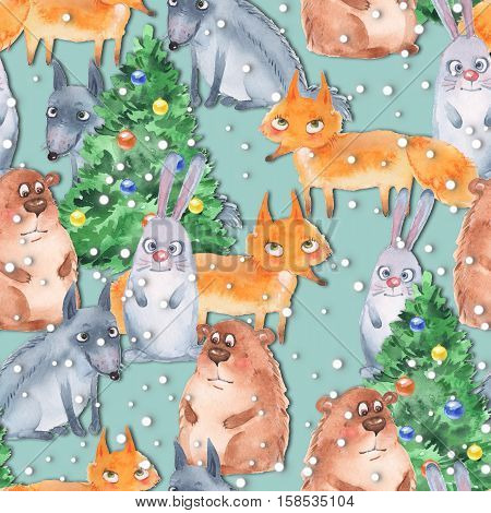 Holiday pattern with animals 5. Watercolor seamless background. Papercraft style