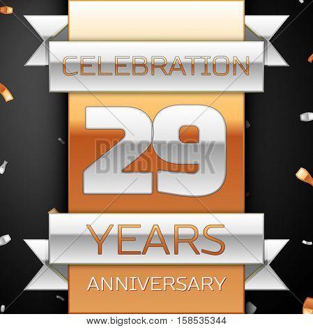 Twenty nine years anniversary celebration golden and silver background. Anniversary ribbon