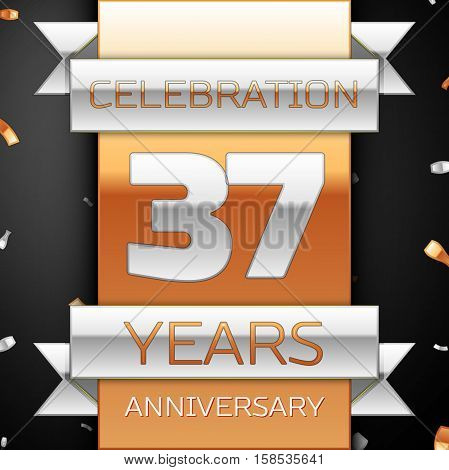 Thirty seven years anniversary celebration golden and silver background. Anniversary ribbon