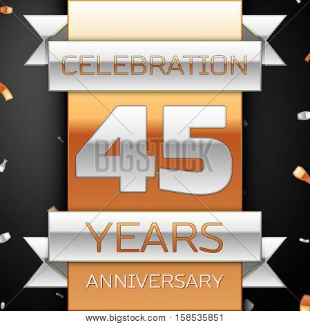 Forty five years anniversary celebration golden and silver background. Anniversary ribbon