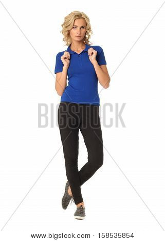 Portrait Of Young Beautiful Blonde In Blue Polo Shirt Isolated