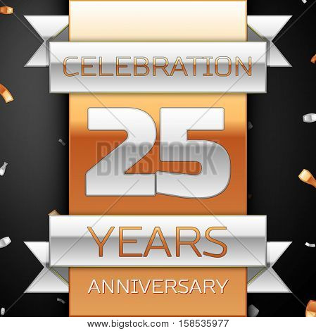 Twenty five years anniversary celebration golden and silver background. Anniversary ribbon