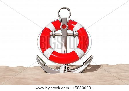 Nautical Anchor with Lifebuoy on the Sand Sunny Beach extreme closeup on a white background. 3d Rendering