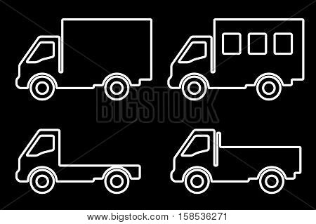 Vector set of silhouettes the cargo trucks.