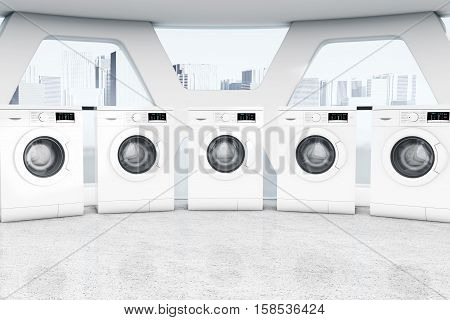 Row of Industrial Modern Washing Machines in a Public Washhouse extreme closeup. 3d Rendering