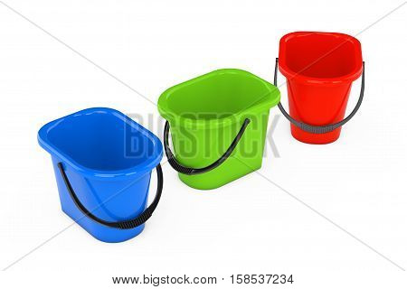 Multicolour Plastic Buckets on a white background. 3d Rendering