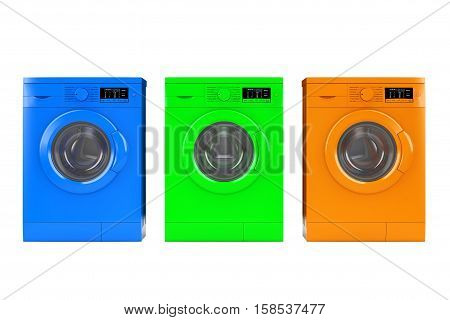 Multicolour Modern Washing Machines on a white background. 3d Rendering