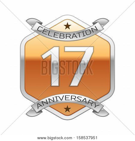 Seventeen years anniversary celebration silver logo with silver ribbon and golden hexagonal ornament on white background.