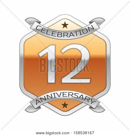 Twelve years anniversary celebration silver logo with silver ribbon and golden hexagonal ornament on white background.